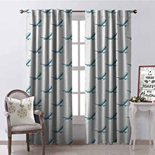Airplane Heat Insulation Curtain Retro Pop Art Style Air Transport Travel Voyage Theme Fast Engine Technology for Living Room or Bedroom W42 x L90 Inch Pale Blue White