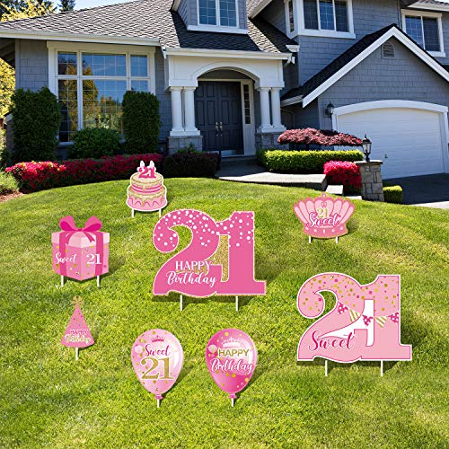 Happy 21st Birthday Party Yard Sign Set of 8 Pink Sweet 21 Birthday Yard Signs with Stakes and Outdoor Lawn Decoration for Girls