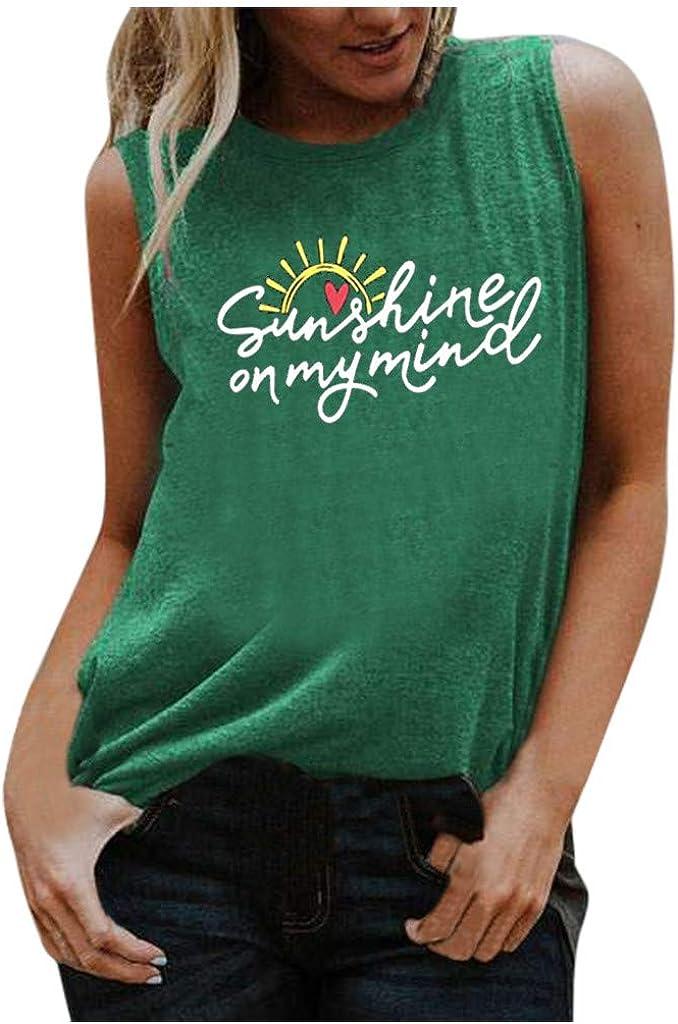POLLYANNA KEONG Women's Workout Tank Tops,Summer Graphic Tank Sleeveless Tee Shirts Letter Printed Tank Tops