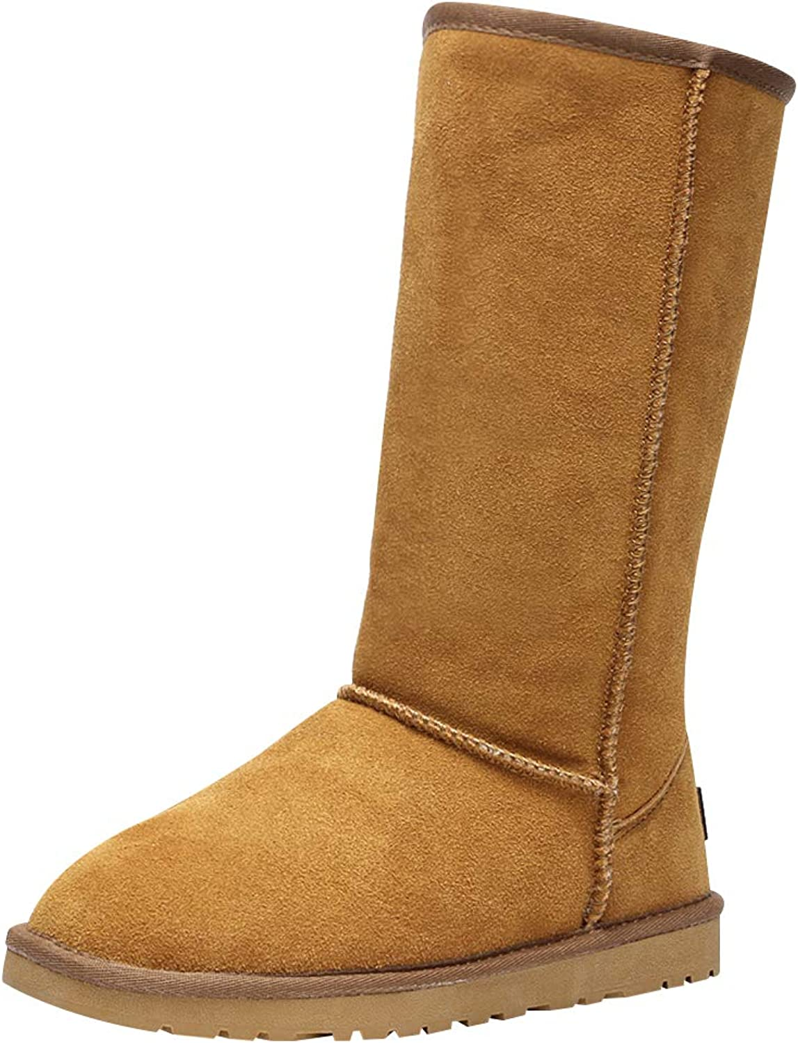 Rismart Womens Classic Below Knee Thermal Suede Half Snow Boots Thick Faux Fur Lined Winter Boots