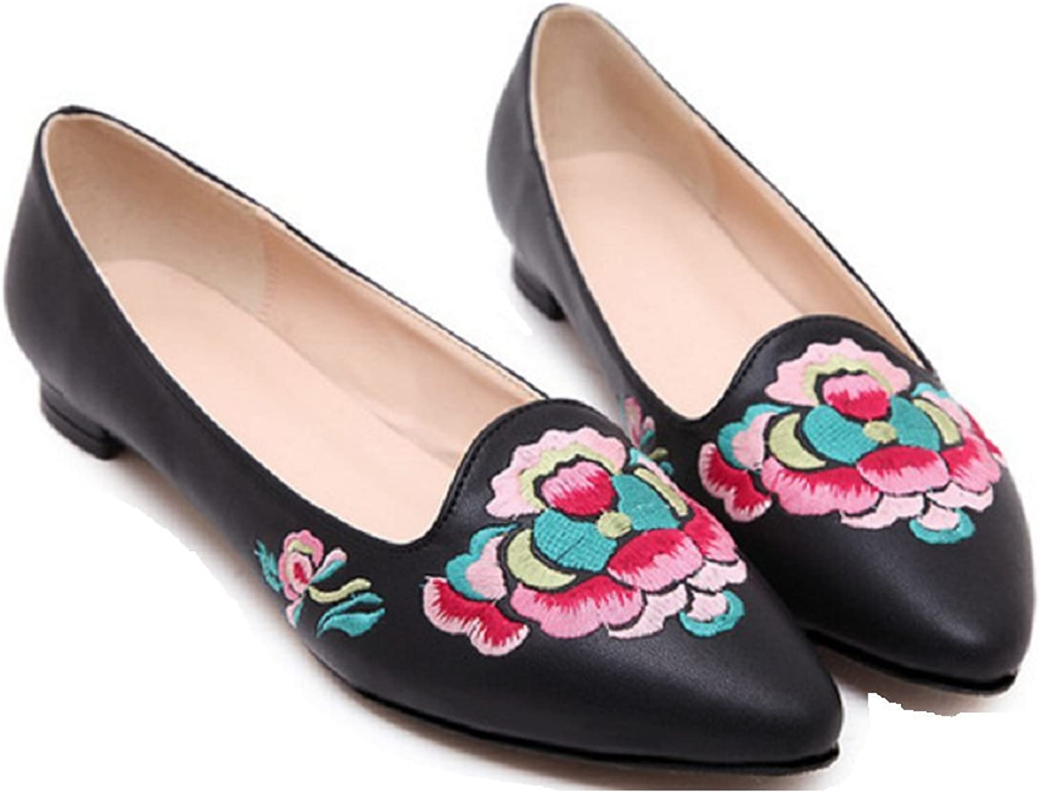 Tianrui Crown Women and Ladies' Embroidery Slip-on Loafer Flat Single shoes