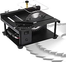 HTDHS Mini sierra de mesa de precisión, herramientas rotativas eléctricas con cuchilla de sierra multifunción, corte de 0-90 ° de corte ajustable, velocidad variable 0-10000 rpm para manualidades de b