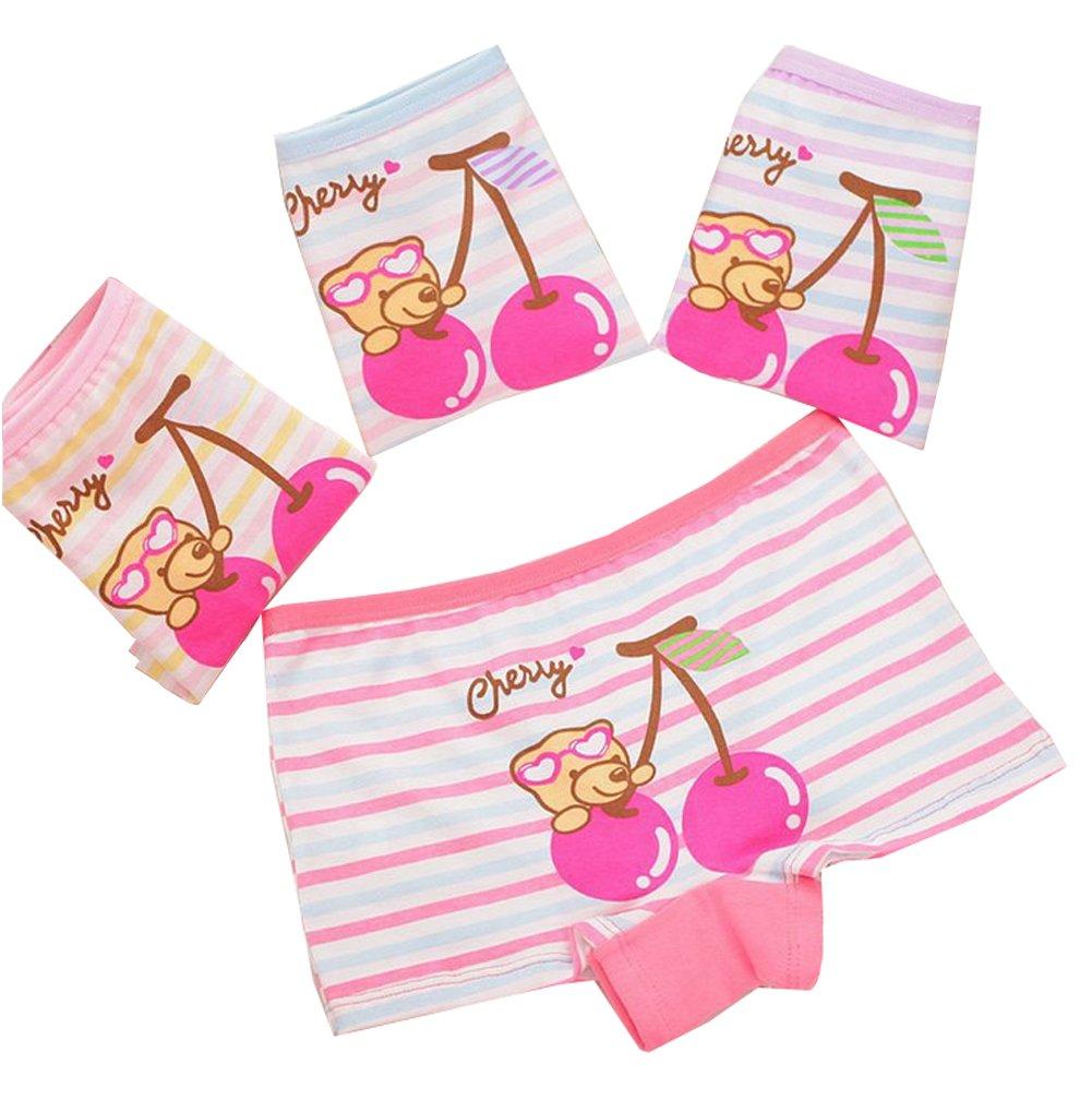 Toddler Girls Big Cherry Print Boyshort Panties Striped Training Underwear,4 Pack