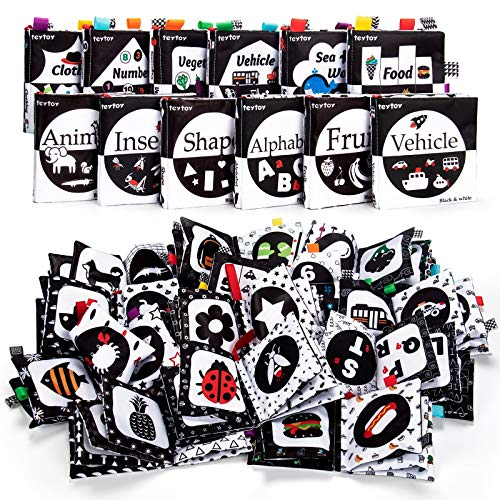 teytoy 12 PCS High Contrast Baby Book, Black and White Cloth Book Infant...