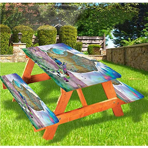 Mystic Picnic Table and Bench Fitted Tablecloth Cover,Noah Ark Couple Animals Elastic Edge Fitted Tablecloth,28 x 72 Inch, 3-Piece Set for Camping, Dining, Outdoor, Park, Patio