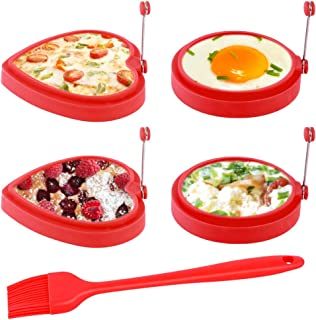 Silicone Egg Rings, Non Stick Egg Cooking Rings, 100% Food Grade & Durable & Reusable Pancake Mold for Breakfast Sandwiches (4 PCS, Red)