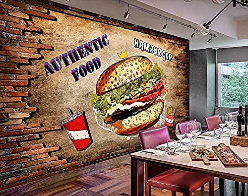 Muurschildering 3D Wallpaper Fast Food Restaurant Burger Eettafel Gereedschap Muur 150 cm.