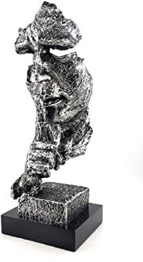 Creative Abstract Modern Sculpture The Thinker Statue, Hand & Face Statues and Sculptures for Home Decor (Silence Silver)
