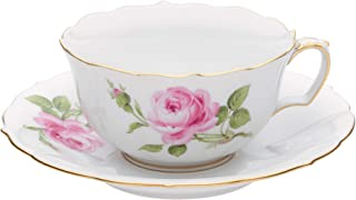 【正規輸入品】 マイセン [MEISSEN] マイセンのバラ(ピンク) ティーカップ&ソーサー 020110/00633