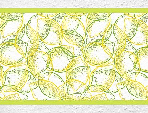 I-love-Wandtattoo Selbstklebende Bordüre Küche Borte Zitronen Zitrusfrucht