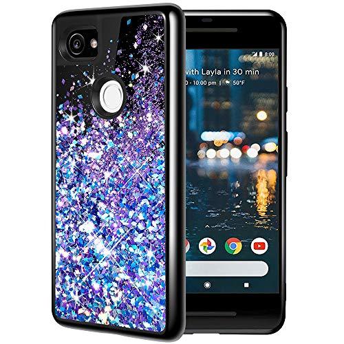 Caka Google Pixel 2 XL Case, Google Pixel 2 XL Glitter Case Starry Night Series Luxury Fashion Bling Flowing Liquid Floating Sparkle Girly Soft TPU Black Case for Google Pixel 2 XL (Blue Purple)