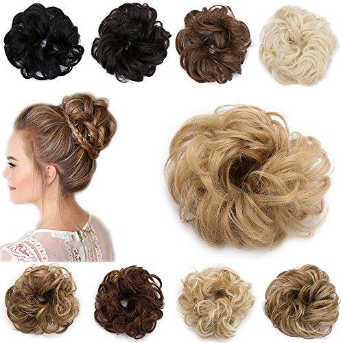 Extension Capelli Finti Chignon Elastico Hair Bun Scrunchie Coda Capelli Ricci Messy Curly Updo 30g Biondo Scuro a Biondo Cenere