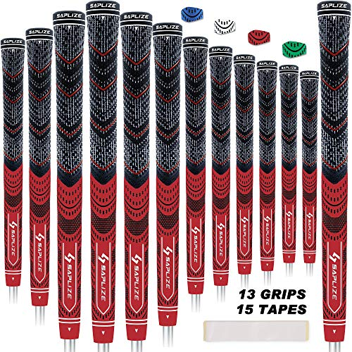 SAPLIZE CL04 Golf Grips(13 Grips + Tapes Bundle), Cord Rubber, Golf Club Grips, Mid Size, Red