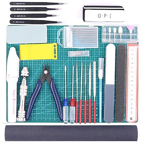 Findfly 36Pcs Modeler Basic Tools Craft Set Hobby Building Tools Kit For Gundam Car Model Building