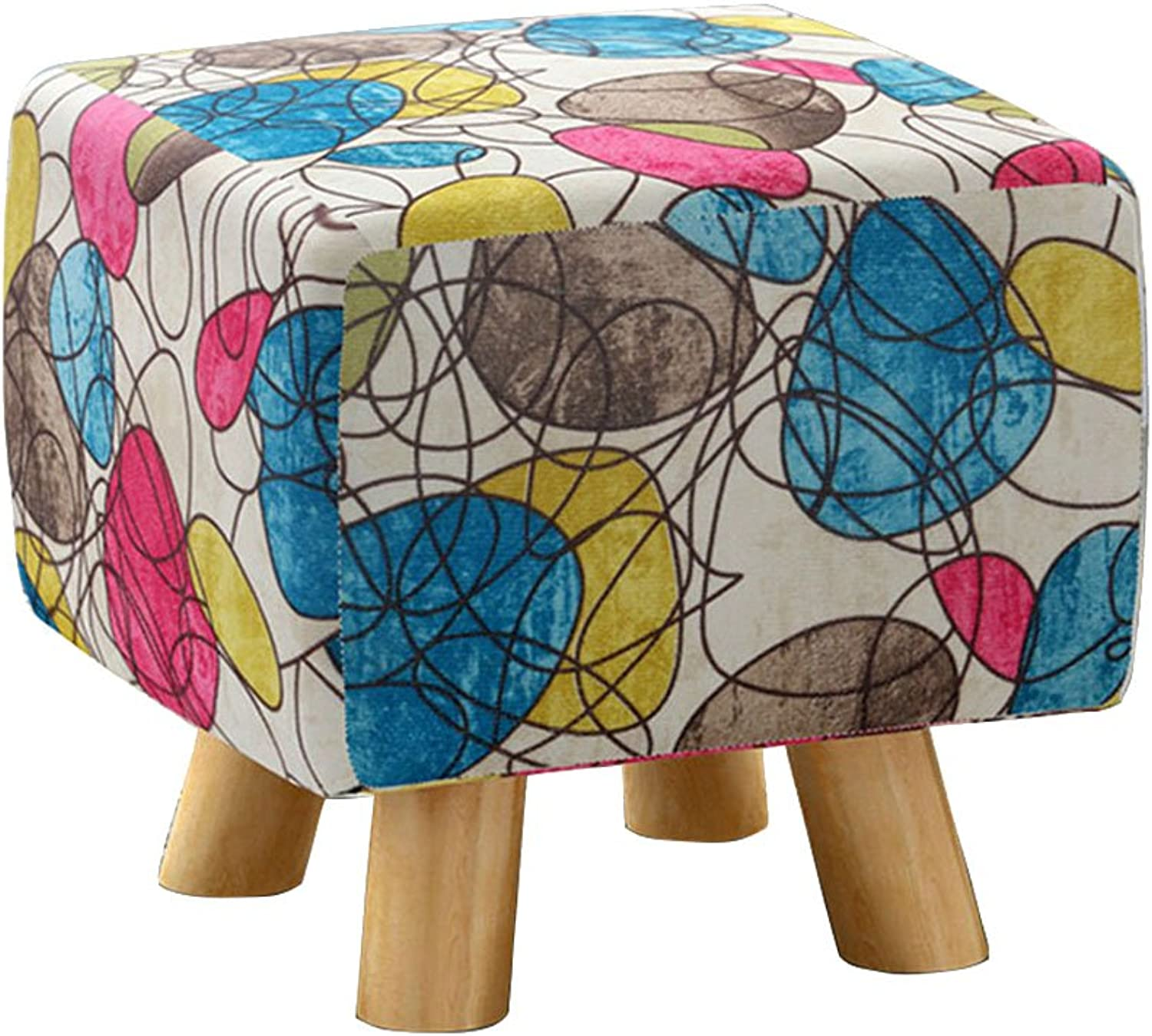 Square Stool Fabric Sofa Stool Four-Legged Stool Multifunctional Footstool shoes Bench Fashion Stool Creative shoes Bench Chair Solid Wood stools Bedside Stool   30  30  27cm (color   B)