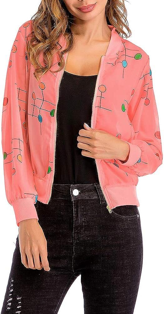 Women's Bomber Jackets Lightweight - Comfy Light Zip Up Floral Coat