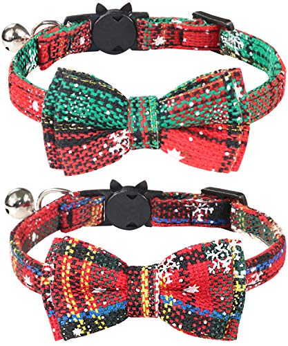 Joytale Christmas Breakaway Cat Collar with Bow Tie and Bell, Cute Plaid Patterns, 2 Pack Kitty Safety Collars,Christmas Red+Green