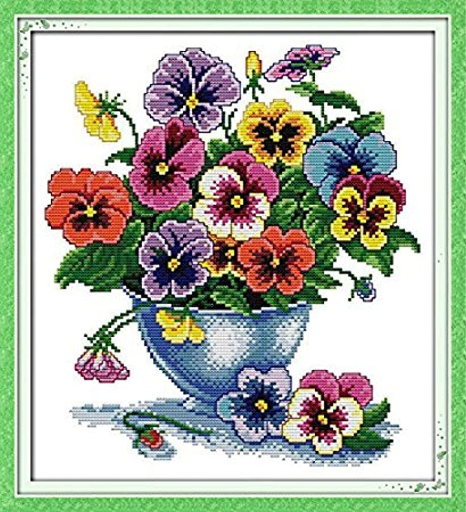 Stamped Cross Stitch Kits Six Color Flower 11 Count 41cm x 44cm DIY Needle Work for Home Decor