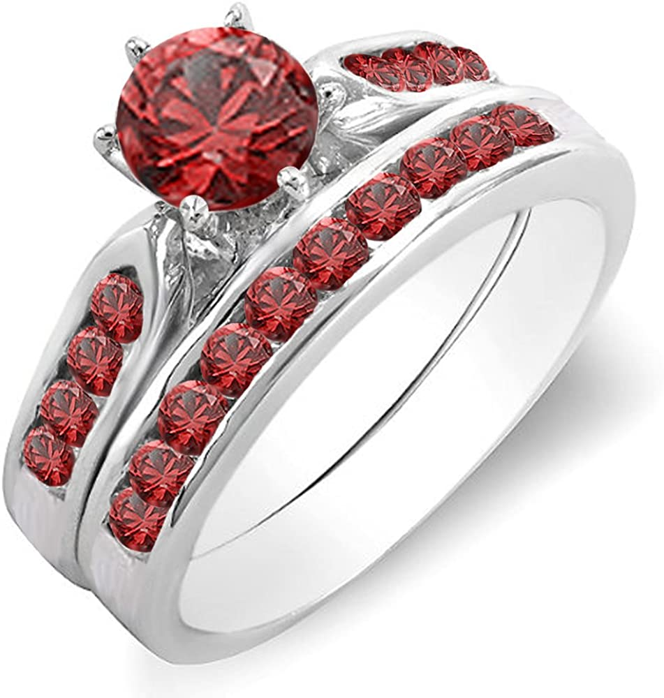 Dazzlingrock Collection 1.00 Carat (ctw) 14K Gold Round Ruby Ladies Bridal Engagement Ring Set with Band 1 CT