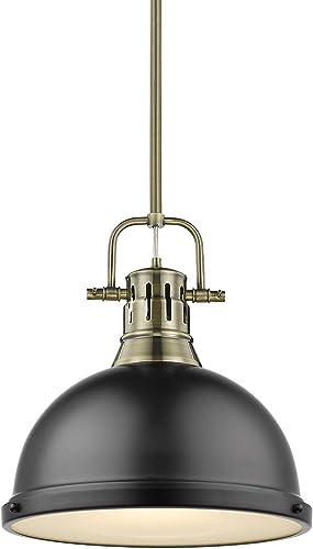 "new arrival Golden Lighting 3604-L AB-BLK Duncan outlet sale Pendant, 14"" L x 14"" outlet online sale W x 14.625"" H, Aged Brass with Matte Black Shade sale"