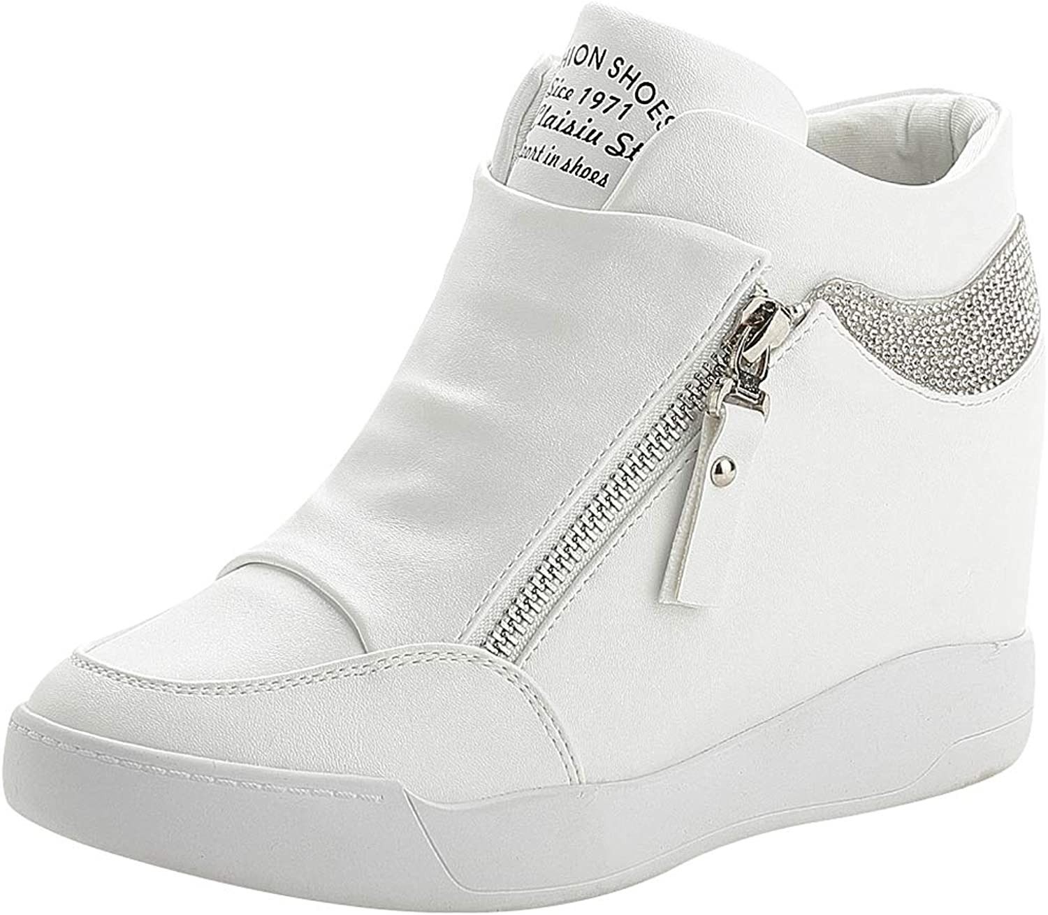 Rismart Women's Wedge Platform Bootie Fashion Sneakers