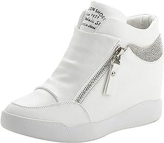rismart Mujer Cuña Plataforma Botín Elegante Deportivos Zapatillas Zapatos