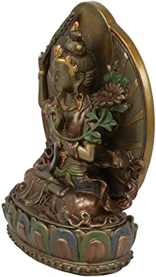 "Ebros Bronze Patina Buddha Bodhisattva Manjushri Sitting On Lotus Throne Statue 6.25"" Tall Eastern Enlightenment Guardian of Wisdom Knowledge & Sacred Doctrine Figurine Feng Shui Altar Sculpture"