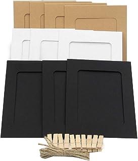 Elsatsang 20 piezas Kraft marco de fotos de papel con la pared / Picture Album DIY para Fujifilm Instax Mini 7s 8 8+ 25 26 50s 70 90 película de cámara instantánea
