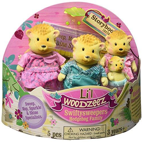 Li'l Woodzeez Swifty Sweepers Hedgehog Family Set with Storybook