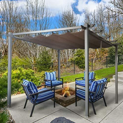 Cloud Mountain Patio Pergola 10 x 10 Flat Hanging KD Tent Retractable Gazebo for Outdoor Garden or Deck, Khaki