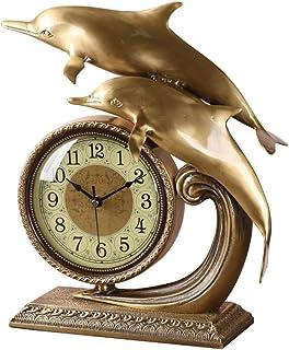 XinQing-Desk clock دولفين على مدار الساعة النقي النحاس تاون هاوس الأوروبي ساعة الجدول ساعة الميمون الحلي الأزياء كتم مضادة...
