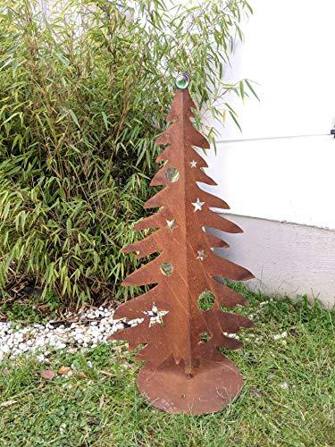 Zen Man Edelrost Garten Weihnachtsdekoration mit Glaskugel Glasdeko Weihnachtsbaum Dekobaum aus Metall Edelrost Rost Weihnachten Deko 032041 H80*50cm +Grün