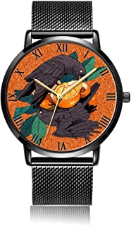 Customized Cats Wrist Watch, Black Steel Watch Band Black Dial Plate Fashionable Wrist Watch for Women or Men
