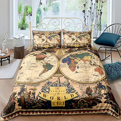 World Map Duvet Cover Kids Teen King Size Vintage Bedding Set Map Pattern Quilt Cover Geography Bed Cover 100% Soft Zipper, Boys Girls Decorated Comforter Cover with Zipper Closure,3pcs