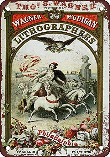 Wagner Lithographers Philadelphia Blechschild Retro Blech Metall Schilder Poster Deko Vintage Kunst Türschilder Schild Warnung Hof Garten Cafe Toilette Club Geschenk