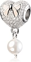 ATHENAIE 925 Silver Soft Pink Enamel Bow Pave CZ Heart with Pearl Pendant Drops Bead Charms for Mothers Day Gifts