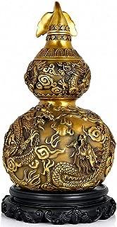 J.Mmiyi Feng Shui Adornos Latón Estatua Gourde WU LOU/HU Lu/con Motif Dragon Escultura, Chinois Charme De Prospérité Décoration De La Maison Cadeau,Oro