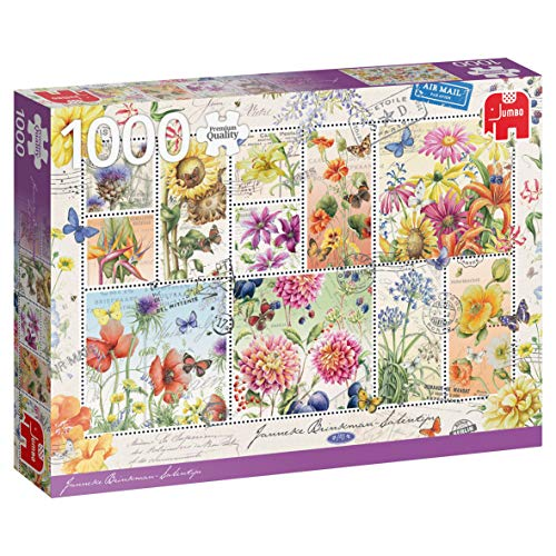 Jumbo 18812 Premium Collection-Flower Stamps Summer Puzzle 1000 Teile, Multi