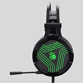 Bloody G530S Headset with Single Green Lighting, USB Black, Omni-Directional Mic. Auto-Adjusting Headband, Tangle-Free Cab...