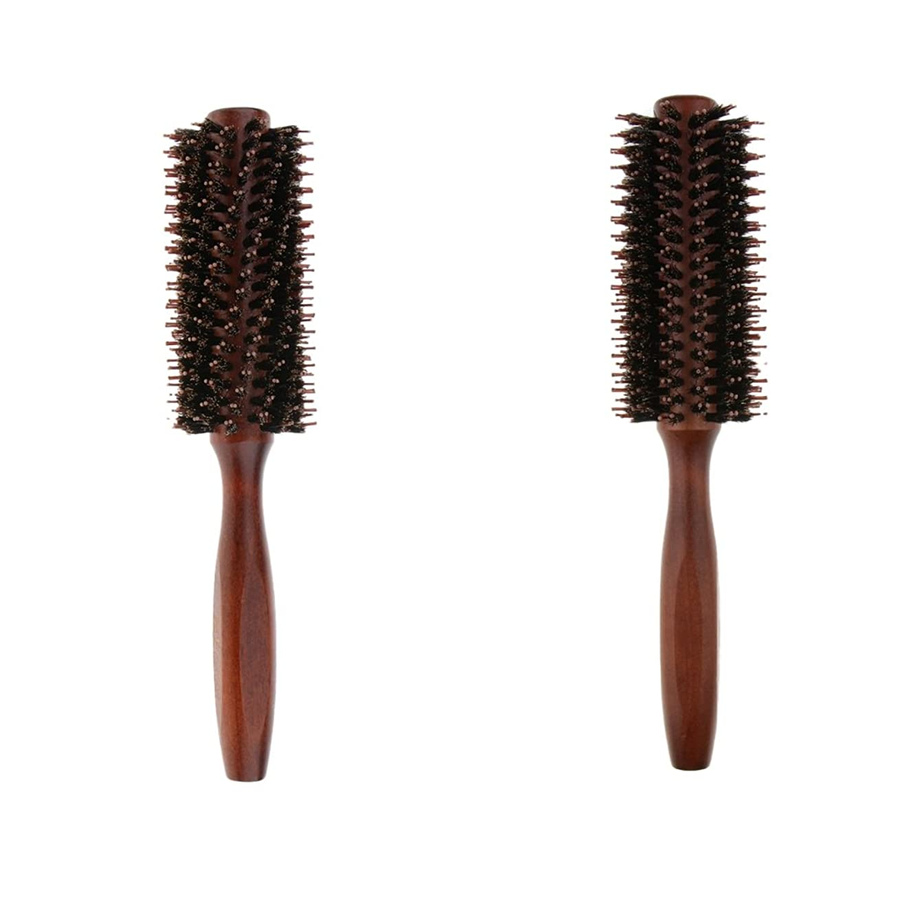 水平人柄友情B Blesiya 2個 ロールブラシ ヘアブラシ ヘアカラーリング用 木製櫛 静電気防止 耐熱コーム 巻き髪