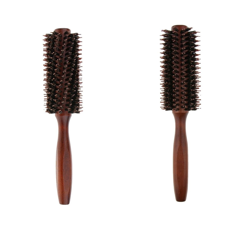 ピアノシュート液化するB Blesiya 2個 ロールブラシ ヘアブラシ ヘアカラーリング用 木製櫛 静電気防止 耐熱コーム 巻き髪