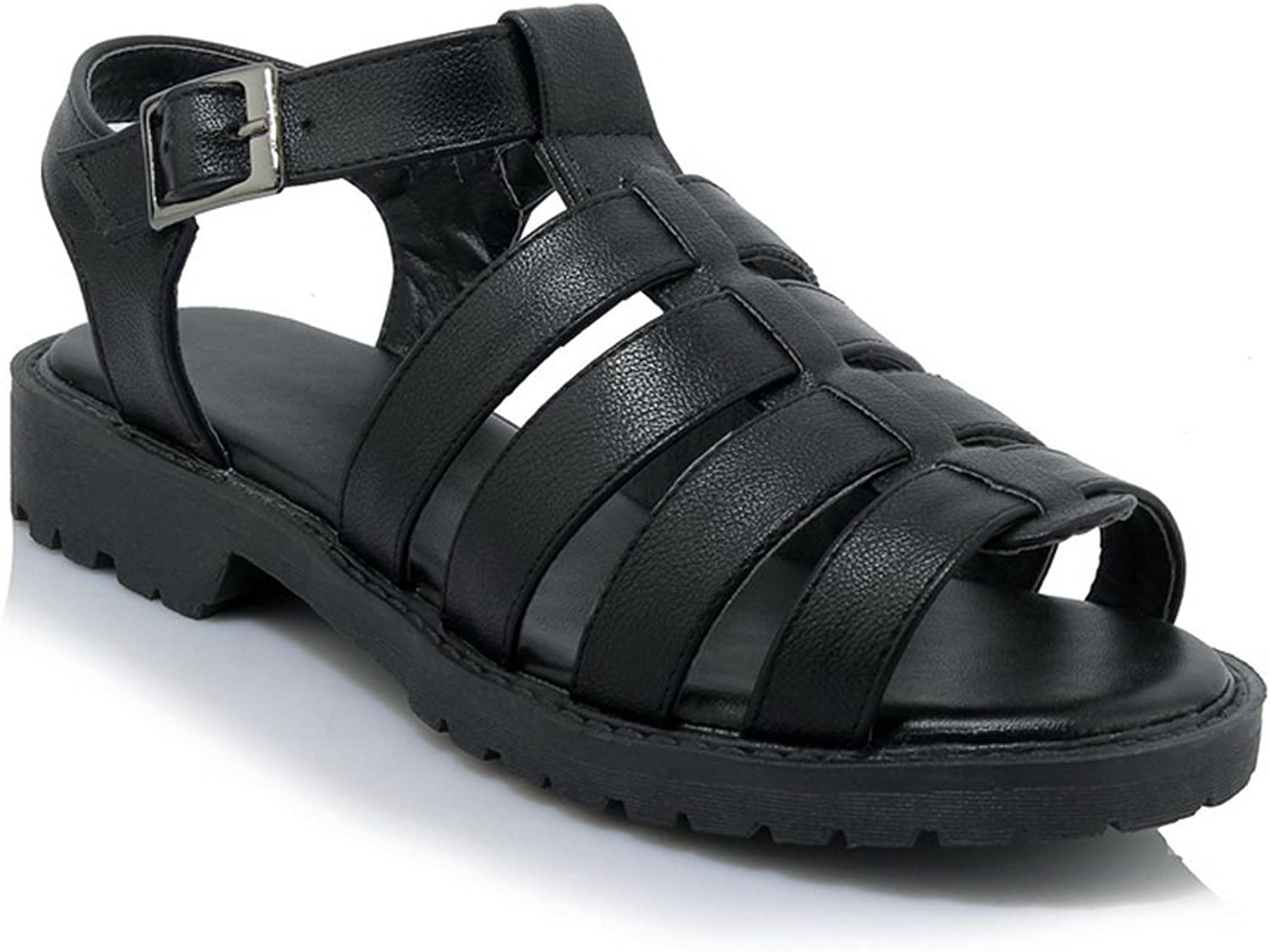 AdeeSu Womens Sandals Peep-Toe Buckle Heeled Leather-and-Synthetic Huarache Treaded-Sole Hiking Smooth Leather Urethane Sandals SLC03513