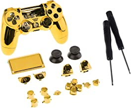 Blesiya Full Cover Case Skin Set for Sony PS4 Pro Controller Shell Housing and Buttons Repair Part Gold & Screwdriver Open...
