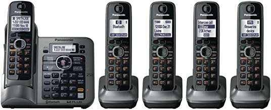 Panasonic KX-TG7645M DECT 6.0 Link-to-Cell via Bluetooth Cordless Phone with Answering System, Metallic Gray, 5 Handsets