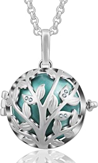 AEONSLOVE Tree of Life Olive Leaves CZ Harmony Bola Chime Bell Pendant Necklaces for Women, 30'' Long Chain