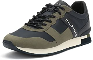 Tommy Hilfiger Mens Dusty Olive Green Printed Runner Trainers-UK 7, Multi Color, Size 41 EU