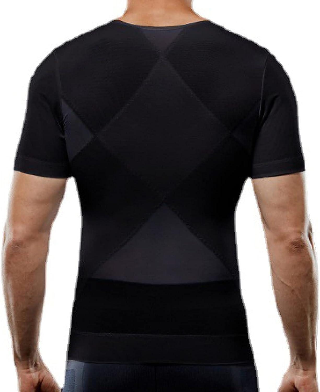 ChyJoey Men's Body Shaper Tank Top, Zipper Elastic Compression Shirt for Tummy Control Underwear - Weight Loss Fat Burner