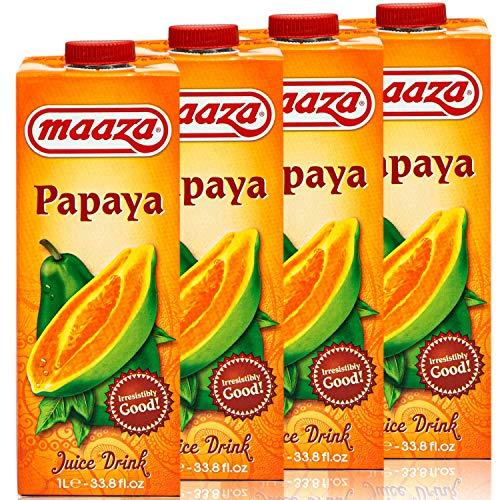 Maaza - 4er Pack Premium Papaya Drink Saft in 1 Liter Packung - Original Papayasaft Juice
