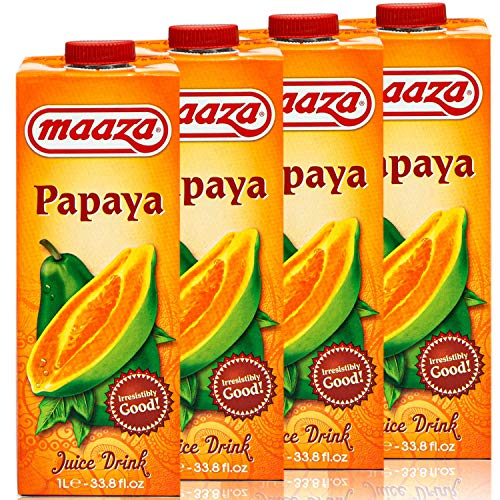 Maaza - 4er Pack Premium Papaya Drink Saft in 1 Liter Packung - Original Papayasaft Juice