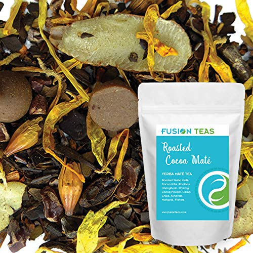 Roasted Cocoa Yerba Mate - Chocolate Tea with Carob, Chicory & Almond - Gourmet Loose Leaf Tea - Coffee Substitute - 4 Oz. Pouch